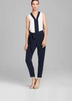 DKNYC Sleeveless Color Block Belted Jumpsuit