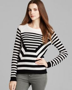 Theory Sweater - Abner P Lofty Cashmere Optical Stripe