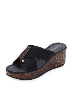 Donald J Pliner Shina Leopard Cross Sandal Wedge, Black/Brown