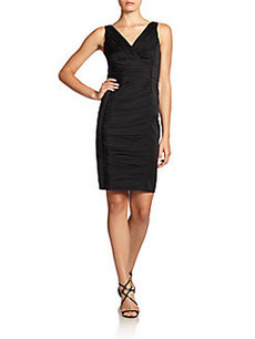 Carmen Marc Valvo Ruched Silk Panel Dress