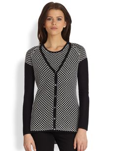 Saks Fifth Avenue Collection Silk-Cashmere Honeycomb Cardigan