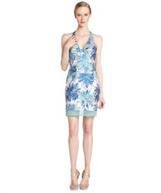 A.B.S. by Allen Schwartz ocean blue silk blend floral print sleeveless halter dress
