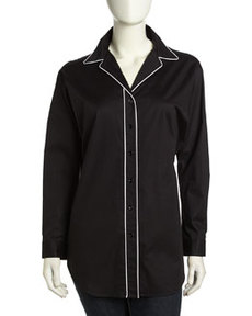 Go Silk Long-Sleeve Oversized Piped Button-Front Shirt, Black/White