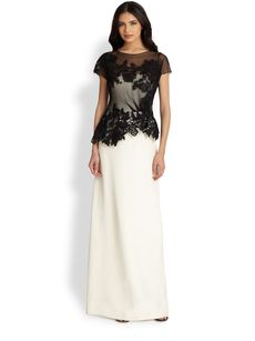 Teri Jon Bi-Color Lace-Top Gown