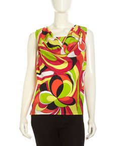 Lafayette 148 New York Printed Silk Chiffon Sleeveless Blouse