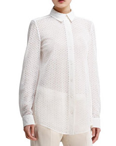 Button-Front Eyelet Blouse, White   Button-Front Eyelet Blouse, White