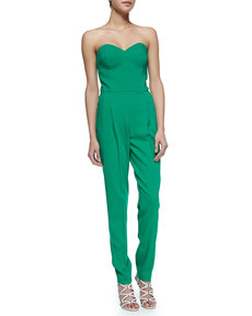Michael Kors Strapless Sweetheart Jumpsuit, Emerald