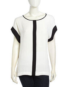 Max Studio Colorblocked Crepe Blouse, Black/White