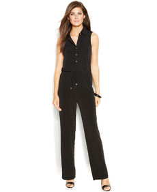 Ellen Tracy Straight-Leg Collared Jumpsuit
