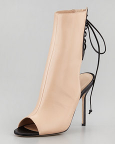 Manolo Blahnik Bellantomod Lace-Back Leather Ankle Boots