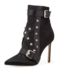Manolo Blahnik Toapa Studded Mixed-Media Ankle Boot