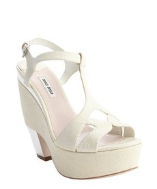 Miu Miu cream textured leather t-strap mirror heel platforms