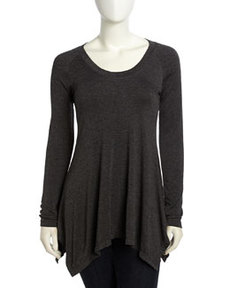 Max Studio Long-Sleeve Tweedy Jersey Top, Charcoal