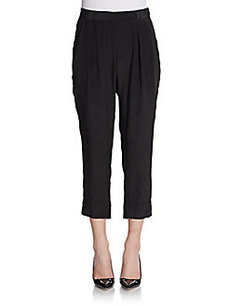 Nieves Lavi Solid Cropped Silk Pants