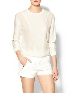 Rebecca Taylor Long Sleeve Texture Comfy Top