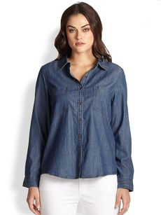Eileen Fisher, Sizes 14-24 Classic Chambray Shirt
