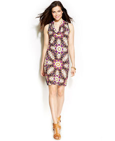 Ellen Tracy Printed Cowl-Neck Dress