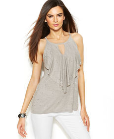 INC International Concepts Petite Sequin-Embellished Halter Top