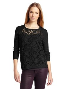 Kensie Women's Sheer Lace Pullover Sweater