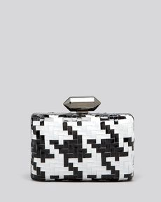 Badgley Mischka Clutch - Emily Basketweave Shine Minaudiere