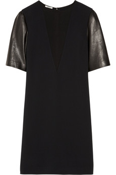 Miu Miu Leather-sleeved cady shift dress
