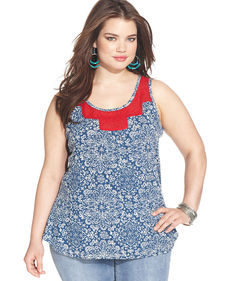 Lucky Brand Plus Size Printed Tank Top