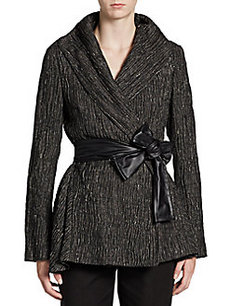 Lafayette 148 New York Faux Leather-Sash Crinkled Jacket