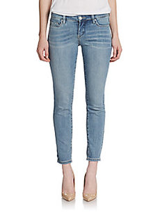 Saks Fifth Avenue GRAY Crochet-Leg Skinny Jeans