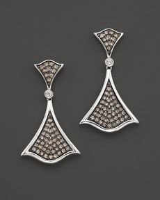 Badgley Mischka White And Brown Diamond Pavé Earrings
