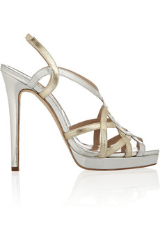 Oscar de la Renta Romantica metallic leather platform slingbacks
