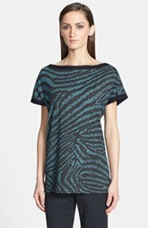 St. John Yellow Label Microdot Tiger Print Jersey Tunic