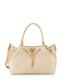 Moschino Borsa Quilted Faux-Leather Tote, Beige/Ivory