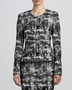 Escada Scribble Tweed Jacket, Black/White
