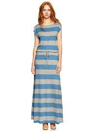 Stripe drawstring maxi dress