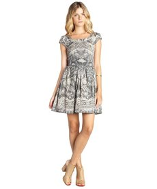 A.B.S. by Allen Schwartz white and black lace printed cap sleeve fit and flare dress