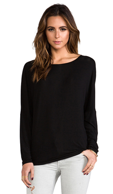 Michael Stars Long Sleeve Dolman Tee in Black