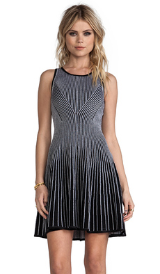 MILLY Milly Knit Two-Toned Rib Stretch Dress in White