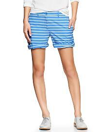 Stripe boyfriend roll-up shorts