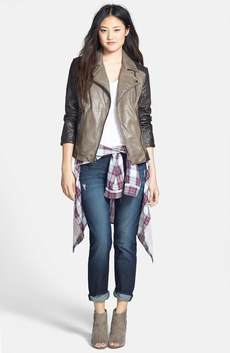 Laundry by Shelli Segal Leather Moto Jacket & KUT from the Kloth 'Catherine' Boyfriend Jeans