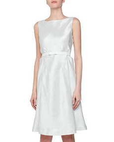 Lafayette 148 New York Herringbone Belted Dress, Robins Egg