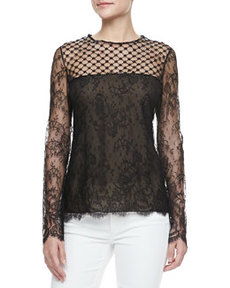 Long-Sleeve Lace-Inset Blouse, Black   Long-Sleeve Lace-Inset Blouse, Black