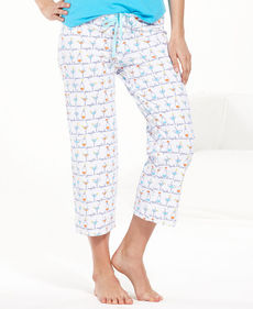 HUE Slim Fit Drinks Capri Pajama Pants