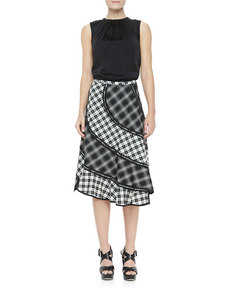 Michael Kors Pueblo Plaid Bias Skirt