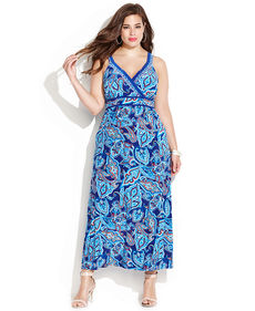 INC International Concepts Plus Size Embellished Sleeveless Printed Maxi Dress