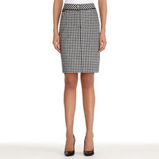 Stretch Cotton Black and White Pencil Skirt