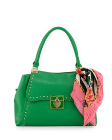 Betsey Johnson Wrap Party Studded PVC Satchel, Green