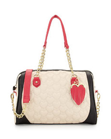 Betsey Johnson Be My Everything Quilted PVC Satchel, Cream/Black/Fuchsia