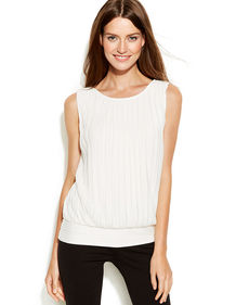 Calvin Klein Sleeveless Pleated Blouson Top