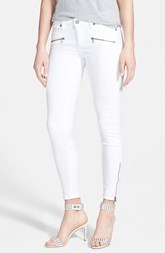 Paige Denim 'Jane' Zip Detail Ultra Skinny Jeans (Optic White)