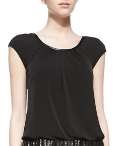 Laundry by Shelli Segal Cap-Sleeve Matte Jersey Top